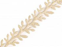 Vánoční saténový prýmek šíře 24 mm větvička s lurexem