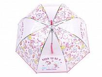 Girls Transparent Auto-open Umbrella Unicorn