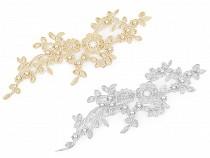 Aplikacja / wstawka dekoltowa na monofilu z lureksem 10,5x32 cm s perłami