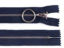 Kovový zips šírka 4 mm dĺžka 20 cm so striebornými zúbkami