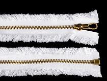 Messing / Metall Reißverschluss Breite 6 mm Länge 70 cm mit ausgefranstem Effekt