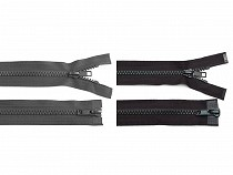 Zip kostěný 5 mm dělitelný 2 jezdce 85 cm bundový
