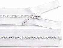 Kostěný zip šíře 4 mm délka 55 cm se štrasovými kamínky