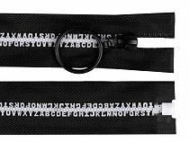 Kostený zips šírka 5 mm dĺžka 70 cm písmenká
