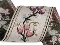 Panglică cu motiv floral țesut metraj, lățime 60 mm