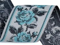 Panglică cu motiv floral țesut tip goblen, metraj, lățime 6 cm