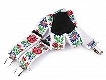 Bretelles de pantalon motif Foklorique, largeur 4 cm, longueur 120 cm