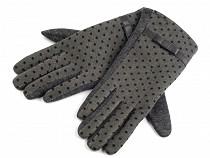 Dámské úpletové rukavice puntíkované