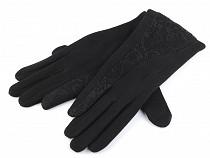 Dámske úpletové rukavice s čipkou
