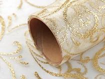 Organza Fabric with Glitter Ornaments width 36 cm