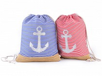 Nautical Drawstring Bag 32x41 cm Anchor with Glitter