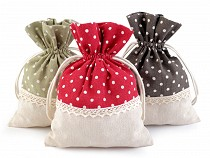 Linen Bag with Polka Dots and Lace 13x18 cm