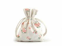 Cotton String Bag with Flowers 10x12 cm