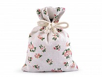 Cotton String Bag with Flowers 13x18 cm