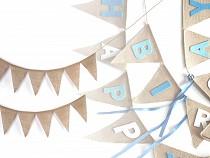 Závěsná dekorace jutové vlajky 12 ks