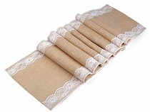 Jute Table Runner / Tablecloth with Lace 30x300 cm