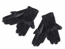 Rękawiczki damskie skórzane z guziczkami