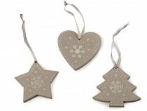 Drevená vianočná dekorácia sada 3 ks
