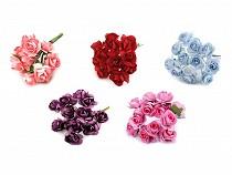 Rose auf Draht / Rohling für Hochzeit Verzierung Ø20 mm