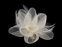 Brošňa / ozdoba do vlasov kvet s perím