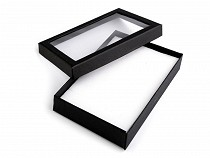 Jewellery Paper Box with transparent lid 12x16 cm padded