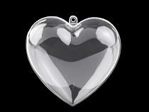 Inimă plastic transparent formată din două parți, 10x10 cm