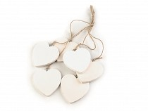Wooden Hang Hearts with String Ø70 mm