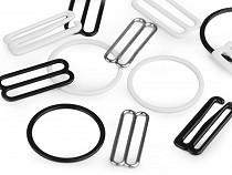 Háčik, krúžok a posunovač na bielizeň šírka 25 mm kovový