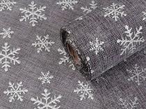 Vánoční imitace juty šíře 48 cm vločky s glitry