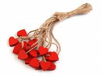 Wooden Hang Decoration on String - Heart
