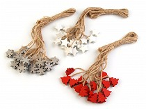 Wooden Hang Decoration on String - Snowflake, Tree, Star, Bell