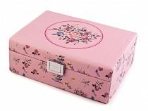 Kuferek na biżuterię 8x16,5x22 cm róże