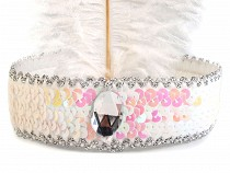 Karnevalová čelenka flitrová s perím retro