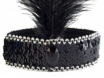 Party Sequin Headband with Feather Retro 1920s Flapper