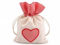 Vászon tasak szív 12,5x17,5 cm
