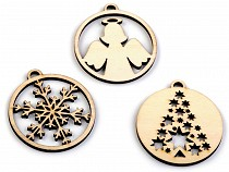 Wooden Cut Out - Ornament, Angel, Snowflake, Tree Ø45 mm