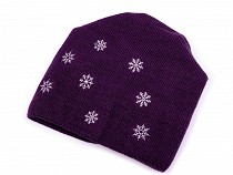 Long Girls Winter Hat with Snowflakes