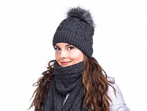 Winter Hat with Faux Fur Pom