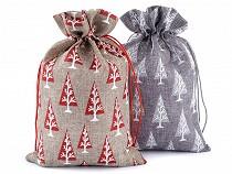 Karácsonyi ajándéktasak / mikulás zsák 20x30 cm juta imitáció