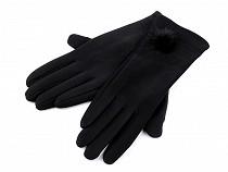 Dámské rukavice s knoflíky, bambulkou