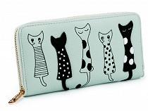 Női macska mintás pénztárca 10x19,5 cm