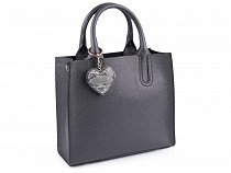 Italian Designer Leather Handbag with Pendant 25x28.5 cm