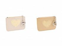 Peněženka / klíčenka s glitrovým srdcem 9x12 cm
