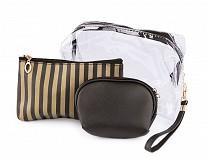 Kozmetikai táska átlátszó és fémes, készlet 3 db
