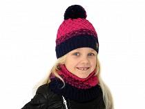 Dievčenská sada čiapka s brmbolcom a nákrčník