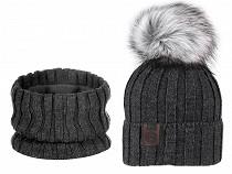 Damen Winterset Mütze mit Pompon und Halswärmer