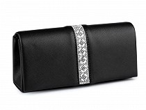 Eco Leather Clutch / Formal Evening Purse with Rhinestones