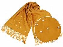 Sál pashmin gyöngyökkel és rolytokkal 65x180 cm