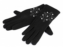 Ladies Gloves, Snowflake with Beads