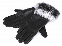 Ladies Leather Gloves with Rabbit Fur